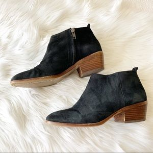 J Crew Factory Black Suede Sawyer Ankle Booties